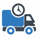 clock, delivery, pickup, shipping, time, truck, watch icon
