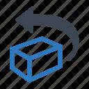 back, box, previous, return, returns, undo icon