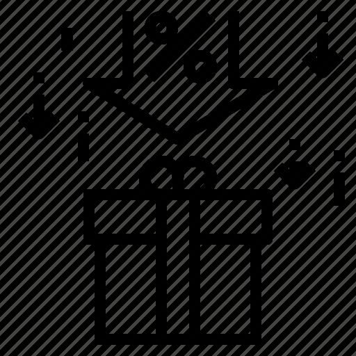 christmas, gift, holiday, present, sale icon