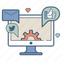 advertising, building, management, marketing, media, profile, social icon