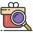 find package, trace parcel, parcel tracking, courier service, magnifying icon
