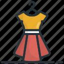 flare dress, frock, skater dress, sundress, woman dress icon