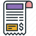atm receipt, bill, payment, receipt, voucher icon