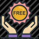 free, free badge, offer, sticker