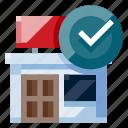 business, e commerce, online shop, online store, seller, shopping, verified seller icon
