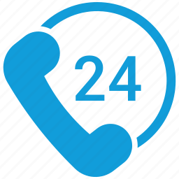 24, 24 hours, call, ecommerce icon
