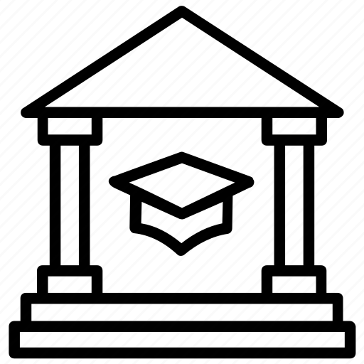 college, library, school building, secondary school, university icon