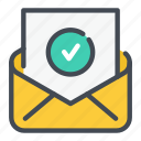 mail, tick, email, approved, letter, check, e icon