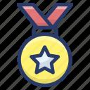 award medal, medal, military medal, star medal, star pendant icon