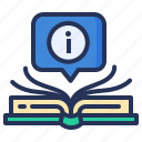 book, bubble, information, learning icon