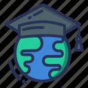 academic hat, globe, learning, online