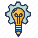 cogwheel, creativity, idea, lightbulb icon