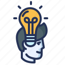 creativity, head, idea, lightbulb icon