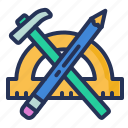 pencil, ruler, supplies, tools icon