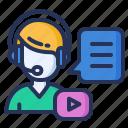 headset, lesson, online, webinar icon