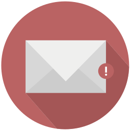 mail, red, warning icon