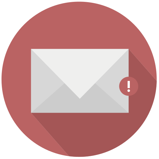 Mail, red, warning icon | Icon search engine