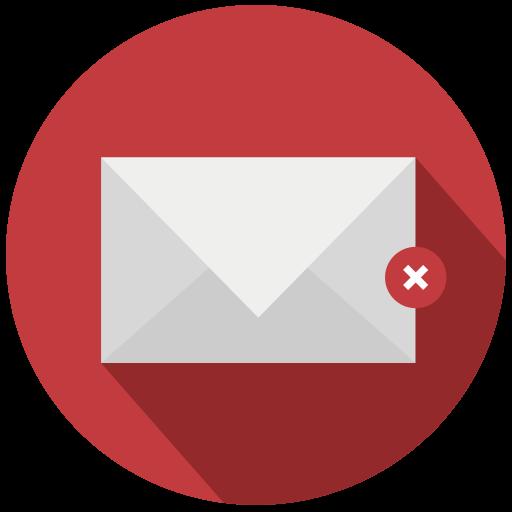 delete, errase, mail, suprime icon