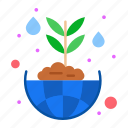 environmental, flower, global, green, planting, protection icon