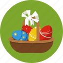 basket, eggs, ribbon icon