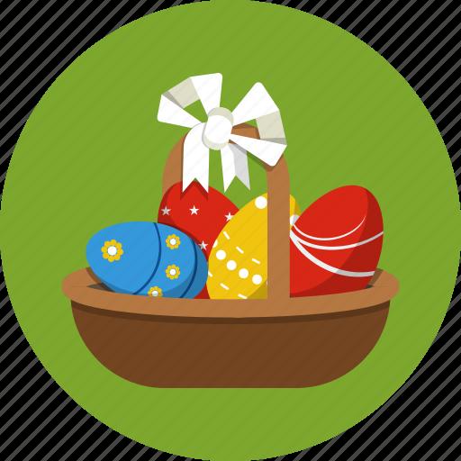 basket, eggs, ribbon icon