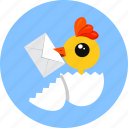 chick, egg, letter icon