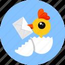 chick, egg, letter