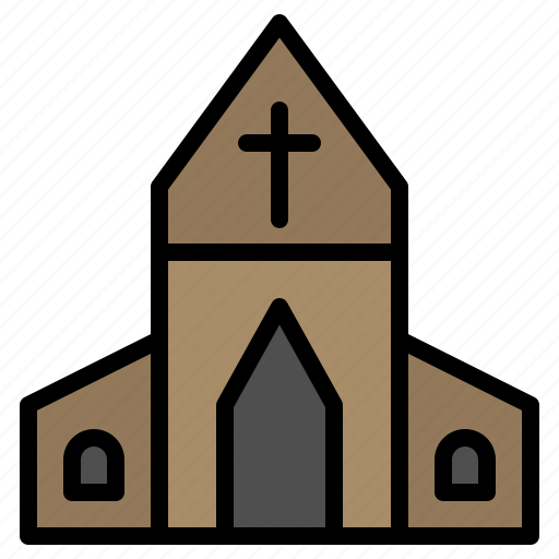 church, cross, easter, house icon