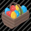 easter basket, easter bucket, easter egg basket, egg basket, egg bucket icon