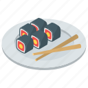 food, japanese food, salmon roll, sushi, vinegared rice icon