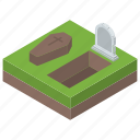 cemetery, churchyard, digging grave, grave, graveyard icon