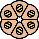 bread, dough, pie, divided, bakery icon