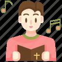 musical, christian, man, religious, music icon
