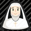 nun, catholic, christian, religious, woman icon