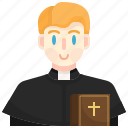 pastor, catholic, christian, religious, man icon