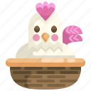 animals, bucket, chick, chicken, egg, farming, season