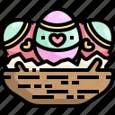basket, cultures, decoration, easter, egg icon