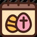calendar, cross, date, day, easter eggs, eggs