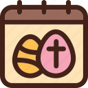 calendar, cross, date, day, easter eggs, eggs icon