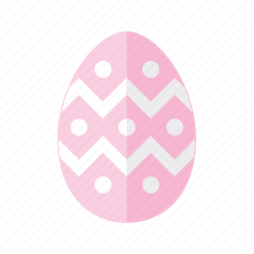 design, dots, easter, egg, pink, polkadots, zigzag icon