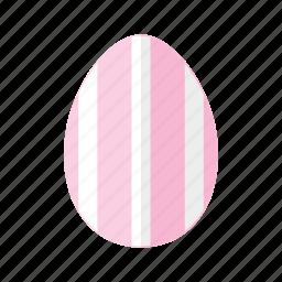 design, easter, egg, pink, stripes, vertical, white icon