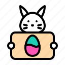 bunny, easter, egg, rabbit, sign icon