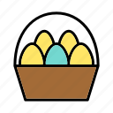basket, breakfast, easter, eggs