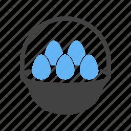 basket, breakfast, easter, eggs, eggs basket, eggs tray icon