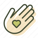 hand, handmade, love, made with love icon