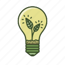 eco, energy, green, lamp, leaf, light icon