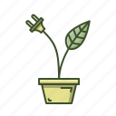 eco, green, leaf, plant, pot, power, powerplug icon
