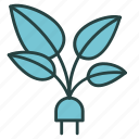 ecology, electricity, energy, green, plant, plug, saving icon