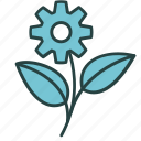 eco, ecology, flower, gear, green, nature, technology icon