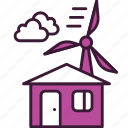 ecology, electricity, energy, home, house, low, turbine icon